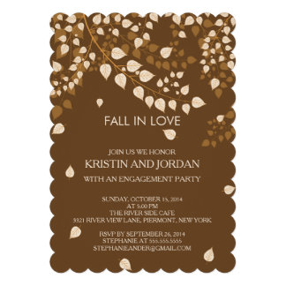 Modern Autumn Fall Leaves Engagement Party Personalized Invites