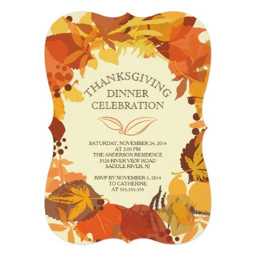 Modern Autumn Leaf Thanksgiving Dinner Invitation Invitations