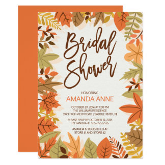 Modern Autumn Leaves Bridal Shower Invitation