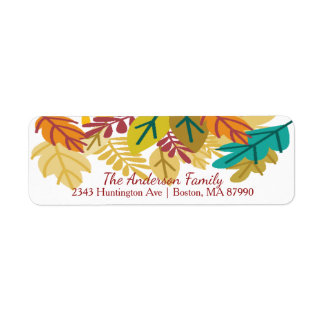 Modern Autumn Leaves Return Address Label