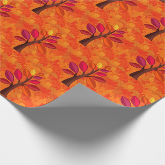 Modern Autumn with Pink and Orange Tree Wrapping Paper