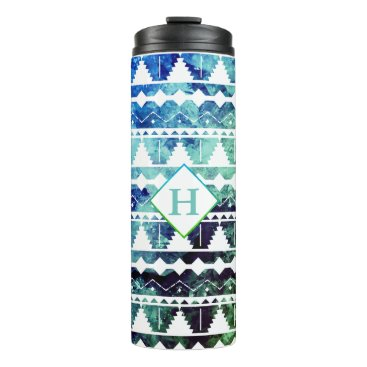 Aztec Themed Modern Aztec Blue Green Geode with Initial Thermal Tumbler