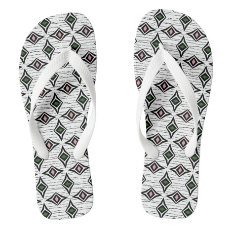 Modern aztec diamond shaped gemstones flip flops