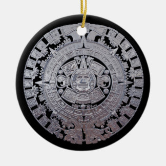 Modern Aztec Mayan Calender Ceramic Ornament