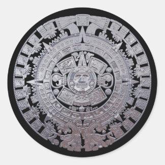 Modern Aztec Mayan Calender Classic Round Sticker