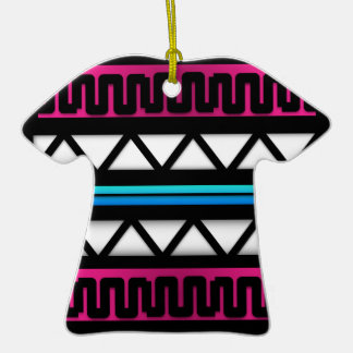 Modern Aztec Pattern Colorful Graphic Double-Sided T-Shirt Ceramic Christmas Ornament
