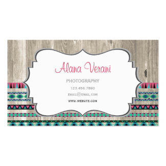Modern Aztec Pattern on Wood Business Cards