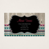 Modern Aztec Pattern on Wood Business Card