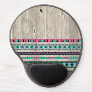 Modern Aztec Pattern on Wood Gel Mouse Pad