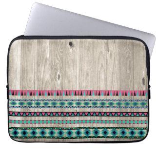 Modern Aztec Pattern on Wood Computer Sleeves