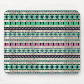 Modern Aztec Pattern on Wood Mouse Pad