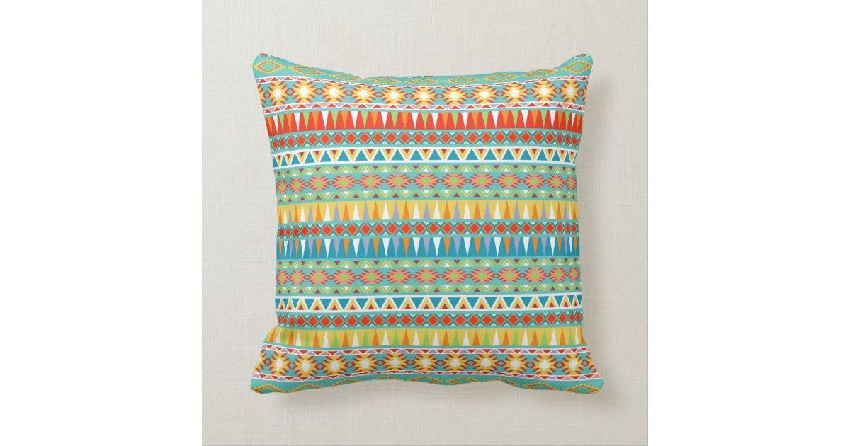 Modern Aztec Pillows : Modern Aztec Pattern Throw Pillow Zazzle