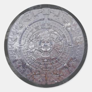 Modern Aztec Sun Stone Classic Round Sticker