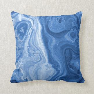 Modern Azure Blue Malachite Marble Swirls Pattern Throw Pillow