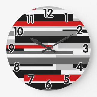 Modern B&W and Red Lines Large Clock