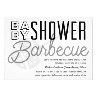 Modern B&W Couples Baby Shower Barbecue Invitation