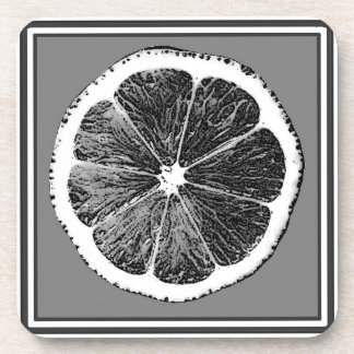 Modern  B&W Grey cut Grape Fruit Design Coaster