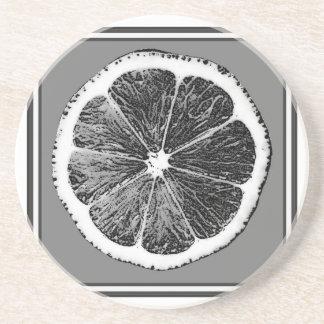 Modern  B&W Grey cut Grape Fruit Design Drink Coaster