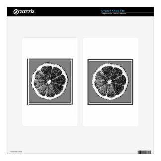 Modern  B&W Grey cut Grape Fruit Design Skins For Kindle Fire