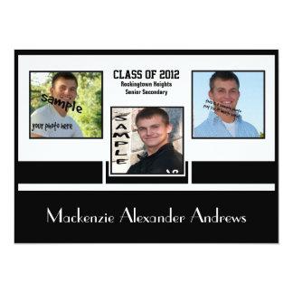 "Modern B&W Offset 3 Photo Graduation Announcement 5.5"" X 7.5"" Invitation Card"
