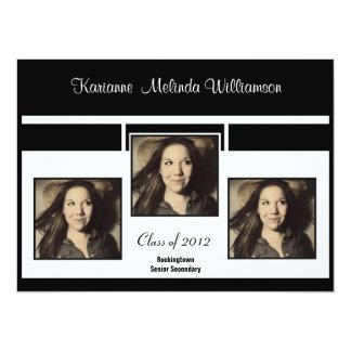 "Modern B&W Photo Graduation Announcement 5.5"" X 7.5"" Invitation Card"