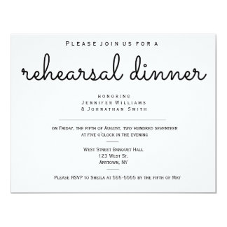 Modern b&w rehearsal dinner invitations