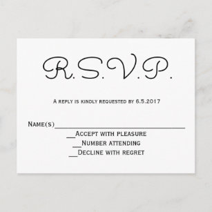 modern bw rsvp wedding postcards
