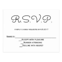 Modern b&w RSVP wedding postcards