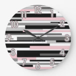 Modern B&W with Pink Large Clock