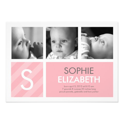 Modern Baby - 3 Photos Birth Announcement