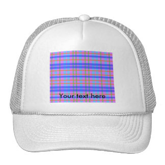 Modern baby blue and green violet plaid hat