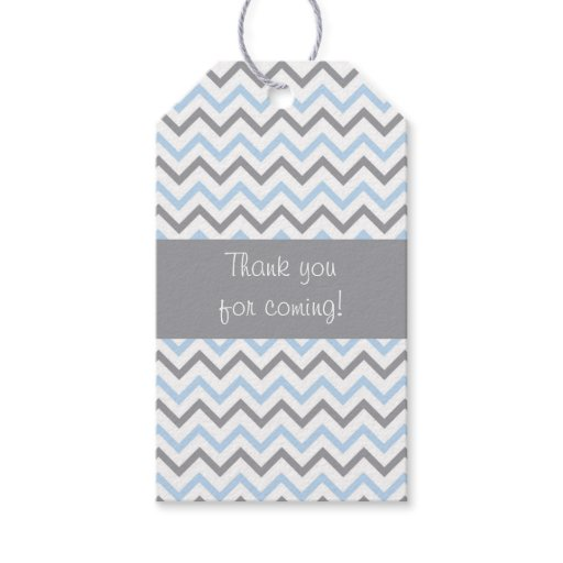 Modern Baby Blue Chevron Party Favor Tags