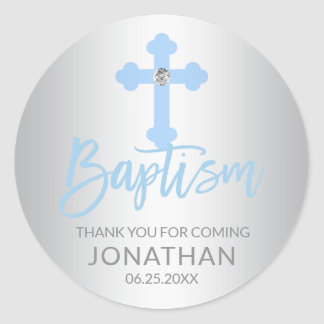 Modern Baby Blue Cross Baptism Boy Thank You Classic Round Sticker