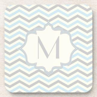 Modern baby blue, grey, ivory chevron pattern coaster