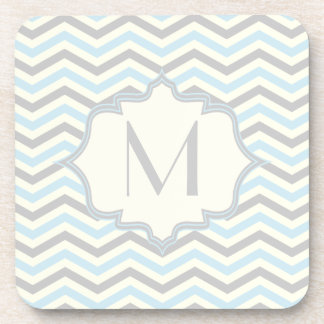 Modern baby blue, grey, ivory chevron pattern coasters