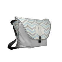 Modern baby blue, grey, ivory chevron pattern messenger bag