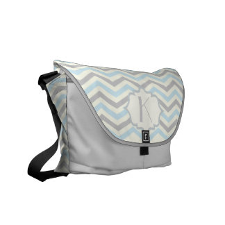 Modern baby blue, grey, ivory chevron pattern messenger bag
