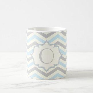 Modern baby blue, grey, ivory chevron pattern mug