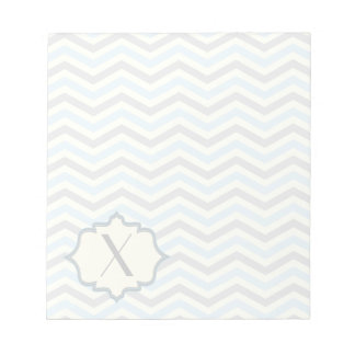 Modern baby blue, grey, ivory chevron pattern scratch pad