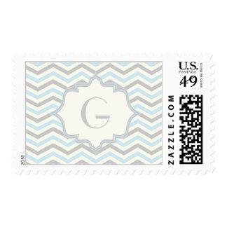 Modern baby blue, grey, ivory chevron pattern postage