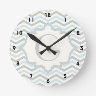 Modern baby blue, grey, ivory chevron pattern round clock