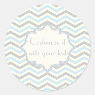 Modern baby blue, grey, ivory chevron pattern round sticker