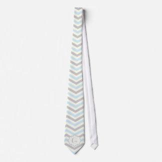 Modern baby blue, grey, ivory chevron pattern tie