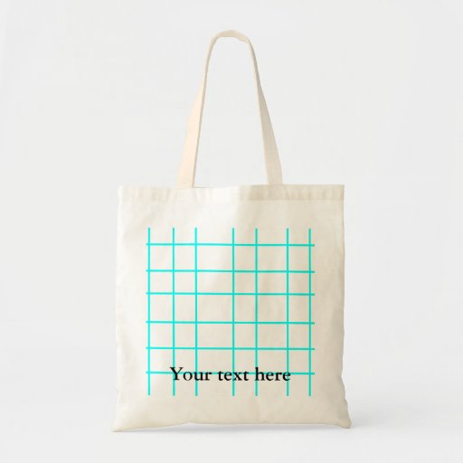 Modern baby blue grid pattern budget tote bag