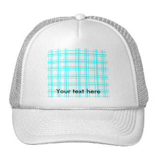 Modern baby blue neon plaid on white background hats