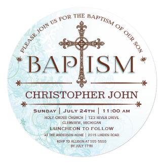"Modern Baby Boy Baptism Circle Invitation 5.25"" Square Invitation Card"