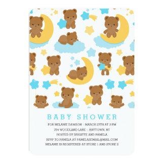 Modern Baby Boy Little Bear Baby Shower Card