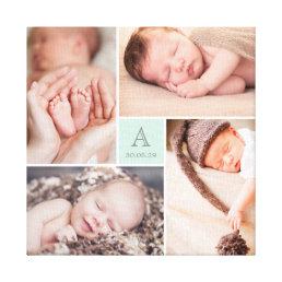 Modern Baby Boy Monogram Photo Collage Canvas