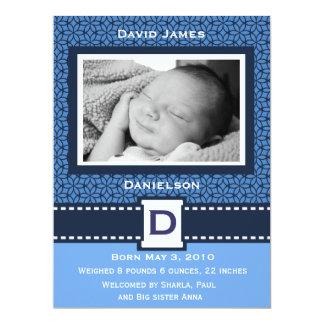 Modern Baby Boy Photo Announcemnet Invitations