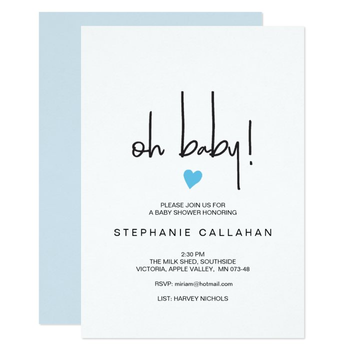 Modern Baby Boy Shower Invitation
